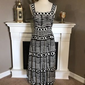 Anthro Tracy Reese Black/Ivory Tribal Jersey Frock